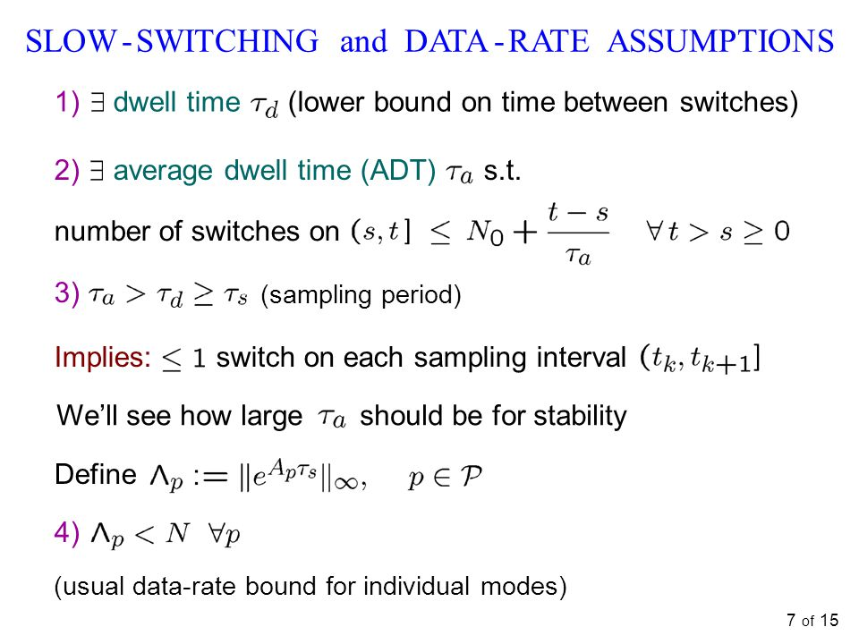 7 of 15 SLOW - SWITCHING and DATA - RATE ASSUMPTIONS 1) dwell time (lower bound on time between switches) 3) (sampling period) Implies: switch on each