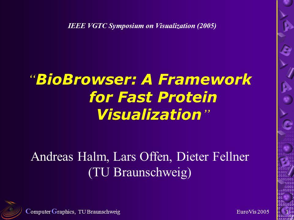 C omputer G raphics, TU Braunschweig EuroVis 20051 BioBrowser: A Framework for Fast Protein Visualization Andreas Halm, Lars Offen, Dieter Fellner (TU Braunschweig) IEEE VGTC Symposium on Visualization (2005)