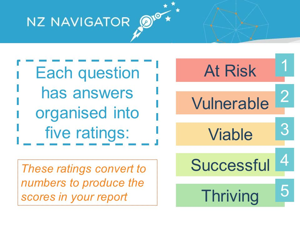 Each question has answers organised into five ratings: At Risk Vulnerable Viable Successful Thriving These ratings convert to numbers to produce the scores in your report