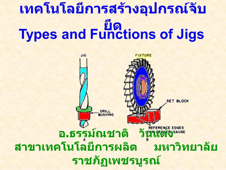 เทคโนโลยีการสร้างอุปกรณ์จับ ยึด อ. ธรรม์ณชาติ วันแต่ง สาขาเทคโนโลยีการผลิต มหาวิทยาลัย ราชภัฏเพชรบูรณ์ Types and Functions of Jigs