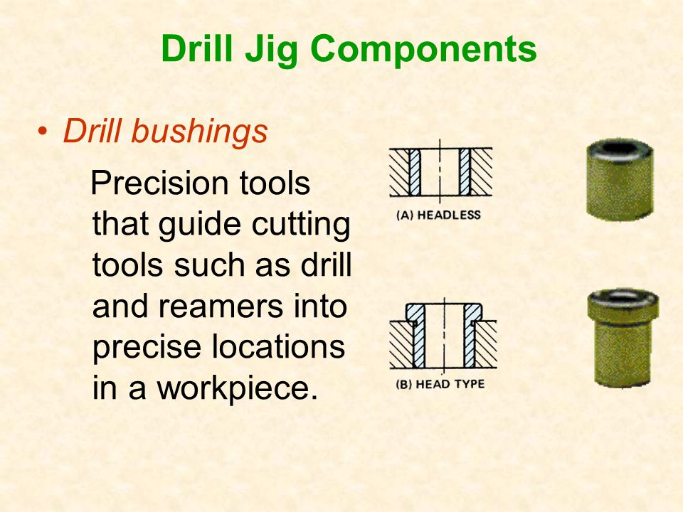 Drill bushings Precision tools that guide cutting tools such as drill and reamers into precise locations in a workpiece.