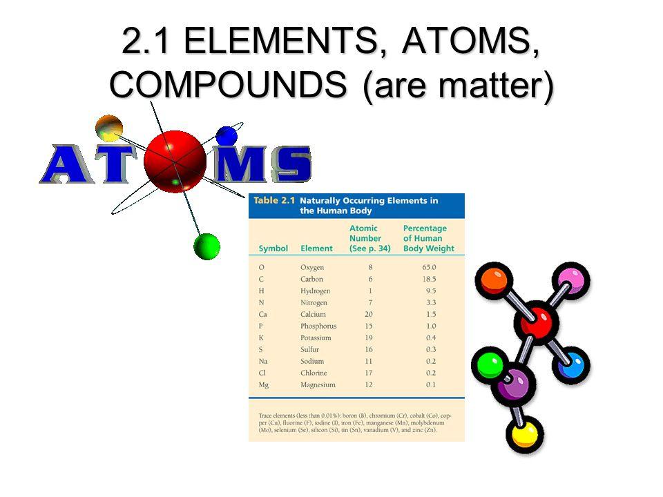 2.1 ELEMENTS, ATOMS, COMPOUNDS (are matter)