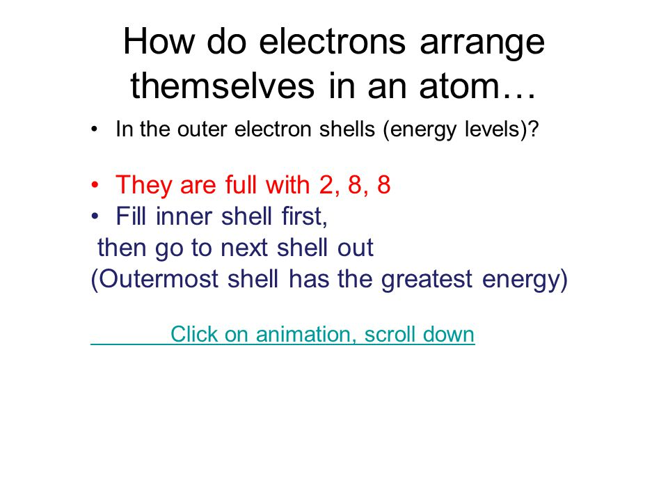 How do electrons arrange themselves in an atom… In the outer electron shells (energy levels).