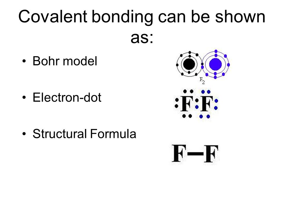 Covalent bonding can be shown as: Bohr model Electron-dot Structural Formula