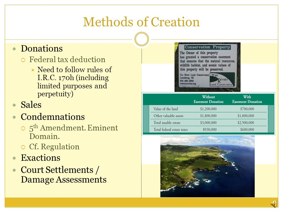 Final Thoughts Current state of things likely to lead to underreagulate and underprotecting the environment based on a belief that conservation easements are doing the job Need to think further about what this mode of property says about property and society in general.