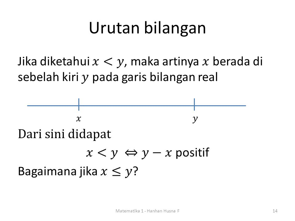 Urutan bilangan Matematika 1 - Hanhan Husna F14