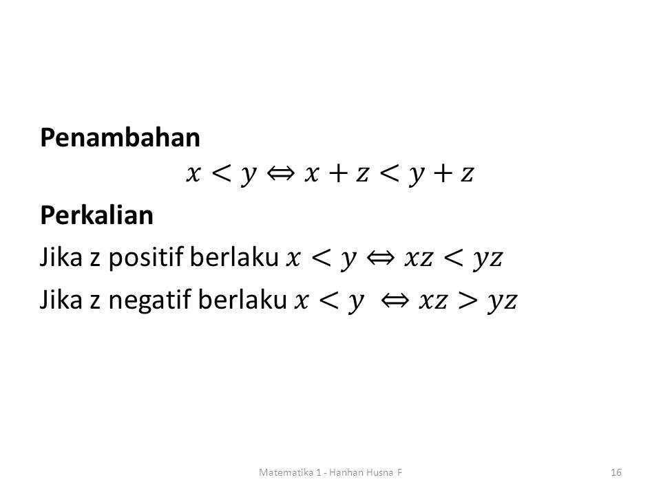 Matematika 1 - Hanhan Husna F16