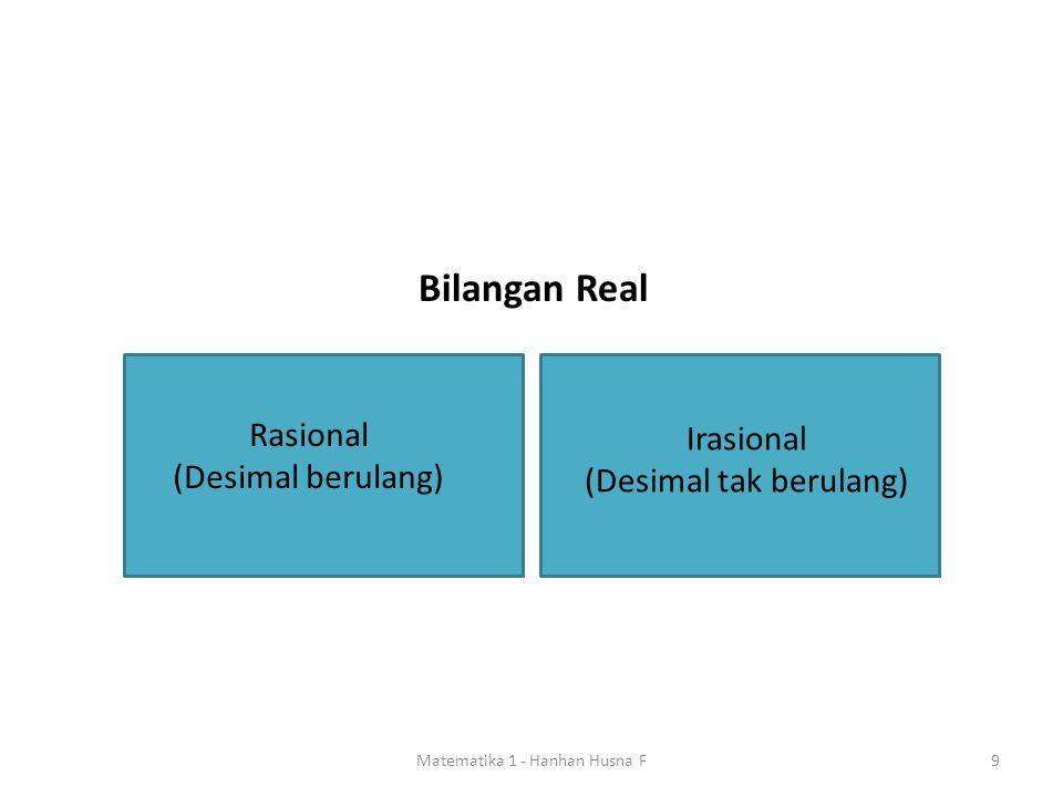 9 Irasional (Desimal tak berulang) Rasional (Desimal berulang) Bilangan Real