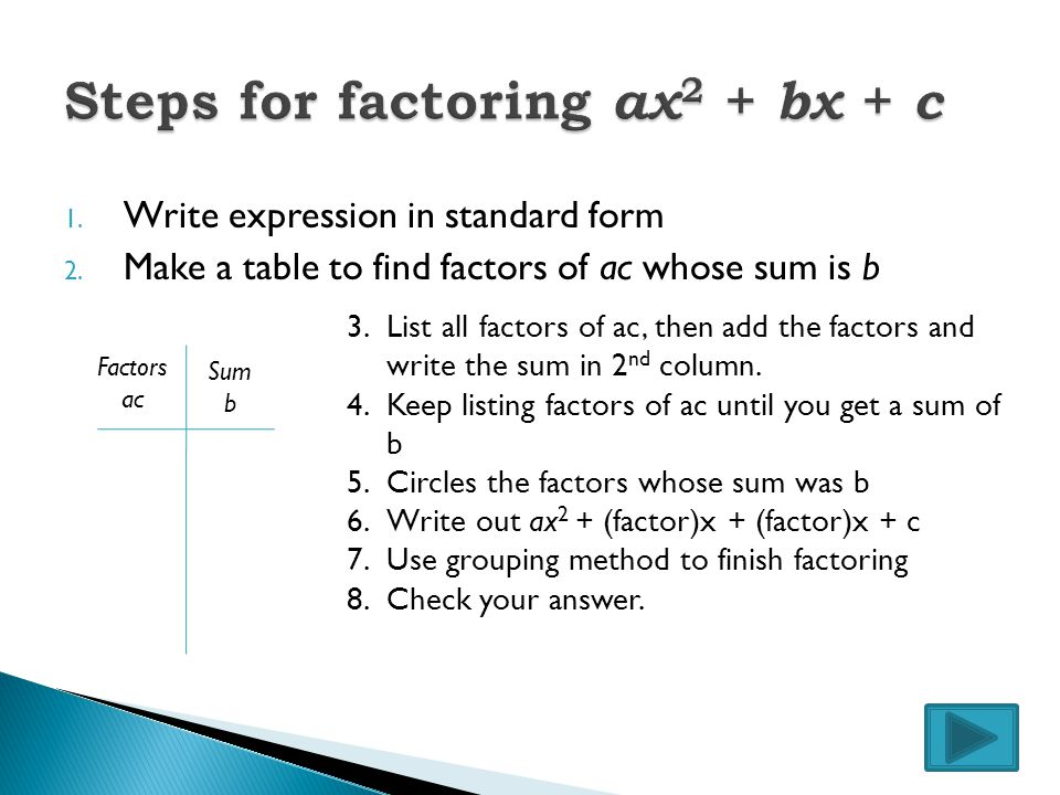 To solve by factoring the quadratic must be set equal to zero.