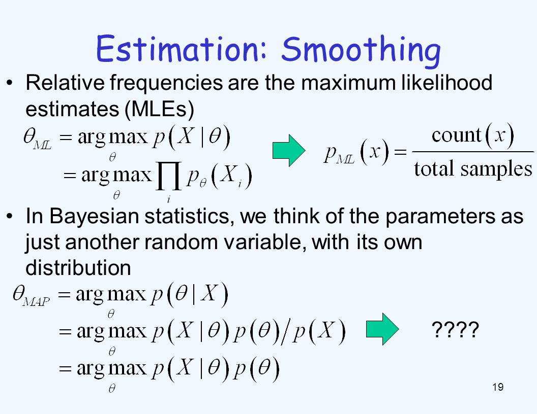 Estimation: Smoothing 19 Relative frequencies are the maximum likelihood estimates (MLEs) In Bayesian statistics, we think of the parameters as just a