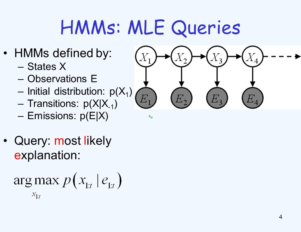 HMMs: MLE Queries 4 HMMs defined by: –States X –Observations E –Initial distribution: p(X 1 ) –Transitions: p(X|X -1 ) –Emissions: p(E|X) Query: most