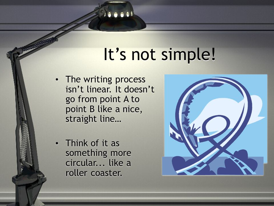 It's not simple. The writing process isn't linear.