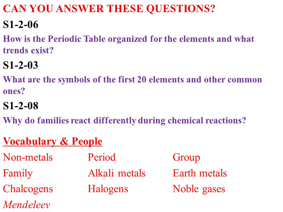 CAN YOU ANSWER THESE QUESTIONS? S1-2-06 How is the Periodic Table organized for the elements and what trends exist? S1-2-03 What are the symbols of th