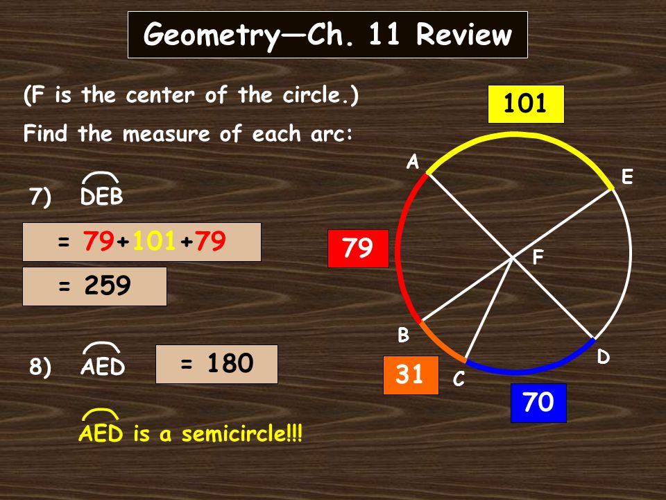 Geometry—Ch. 11 Review A B C D E F (F is the center of the circle.) Find the measure of each arc: 6) CD 31 79 101 70 CD + 31 = 101
