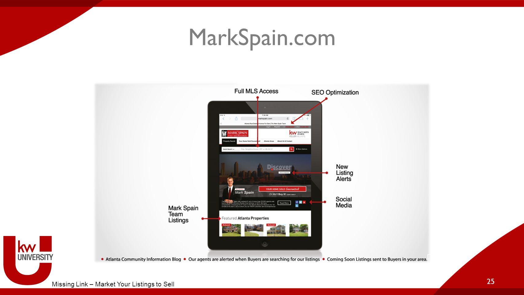 MarkSpain.com 25 Missing Link – Market Your Listings to Sell