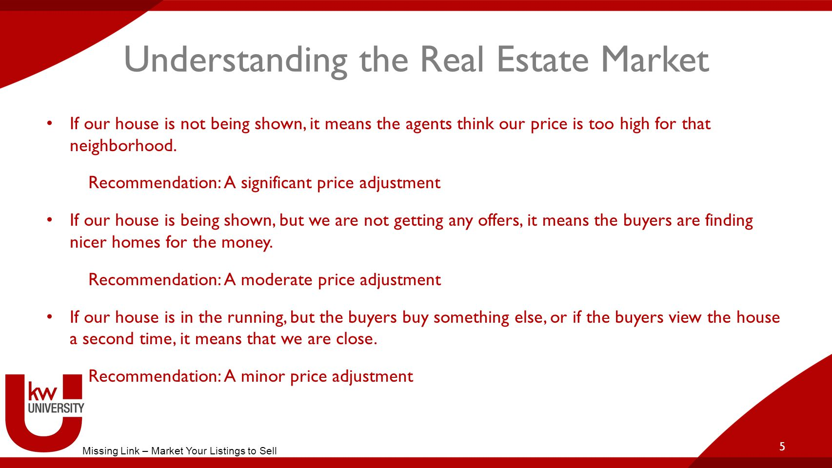 Understanding the Real Estate Market If our house is not being shown, it means the agents think our price is too high for that neighborhood.