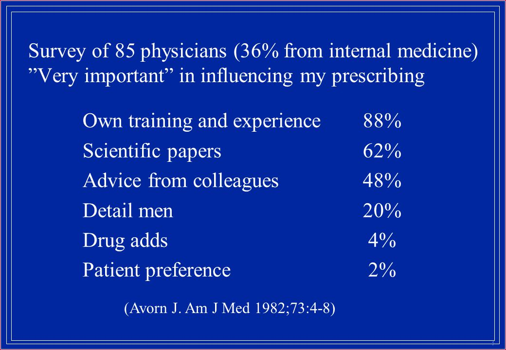 5 Survey of 85 physicians (36% from internal medicine) Very important in influencing my prescribing Own training and experience88% Scientific papers62% Advice from colleagues48% Detail men20% Drug adds 4% Patient preference 2% (Avorn J.