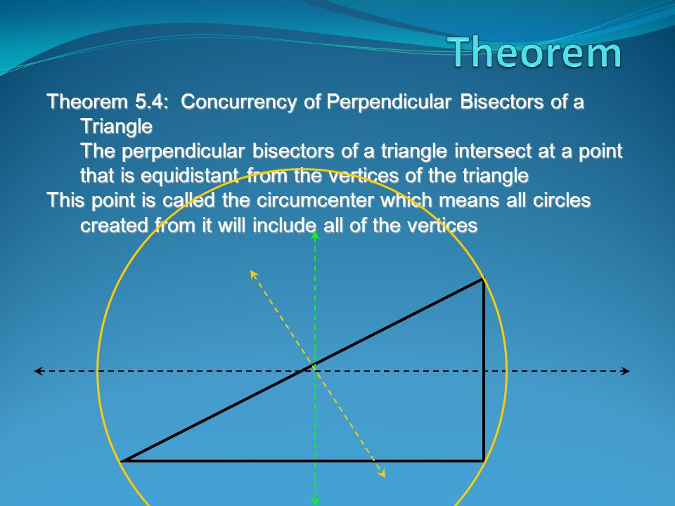 Theorem 5.4: Concurrency of Perpendicular Bisectors of a Triangle The perpendicular bisectors of a triangle intersect at a point that is equidistant from the vertices of the triangle This point is called the circumcenter which means all circles created from it will include all of the vertices