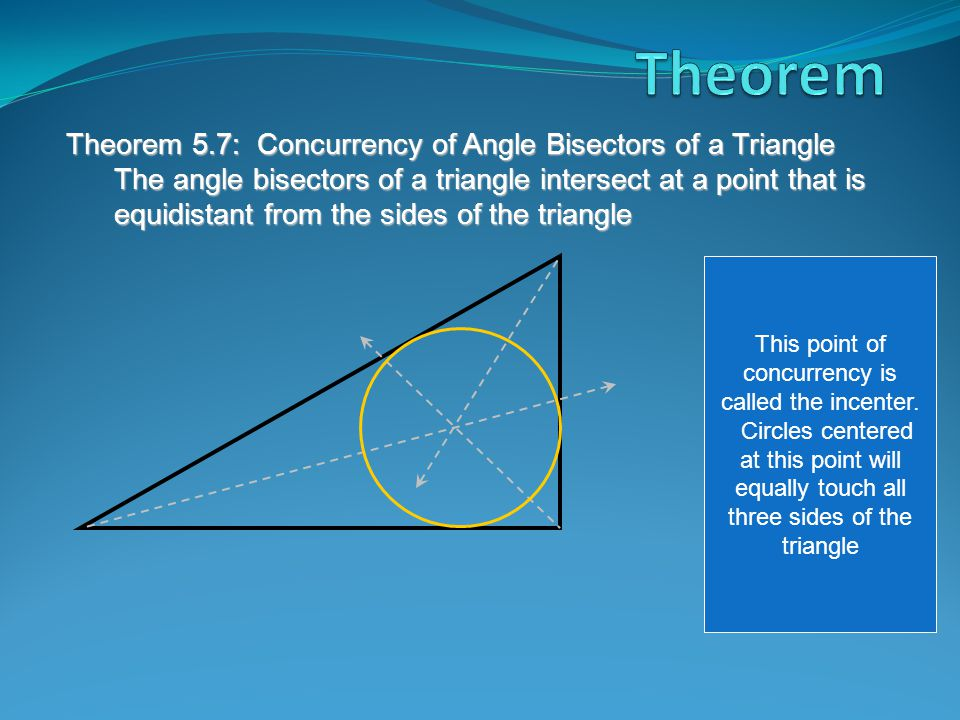 Theorem 5.7: Concurrency of Angle Bisectors of a Triangle The angle bisectors of a triangle intersect at a point that is equidistant from the sides of the triangle This point of concurrency is called the incenter.
