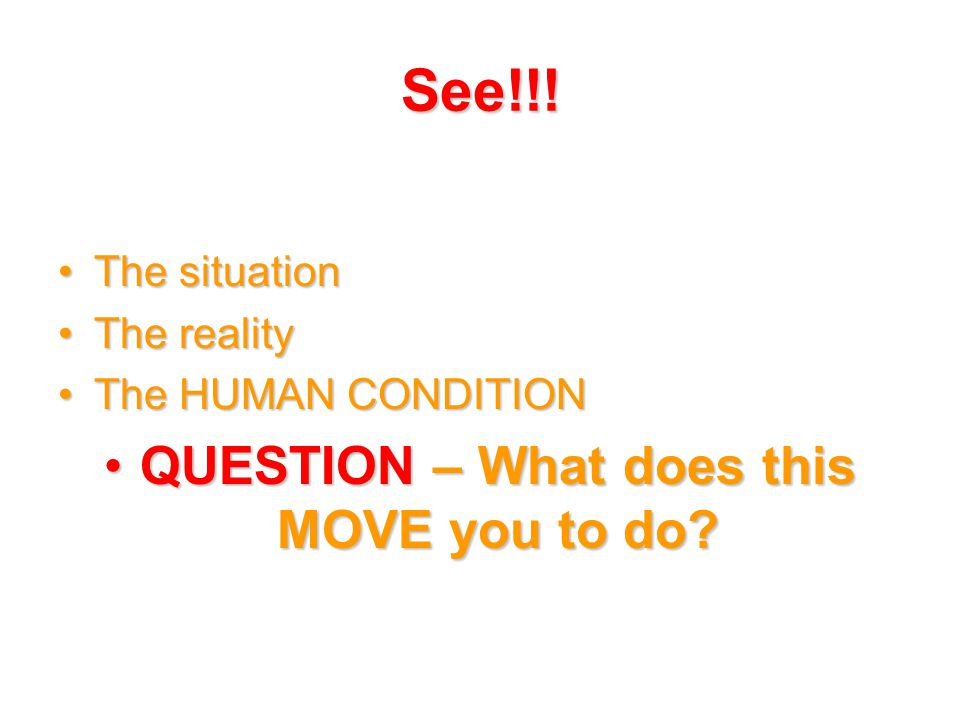 See!!! The situationThe situation The realityThe reality The HUMAN CONDITIONThe HUMAN CONDITION QUESTION – What does this MOVE you to do?QUESTION – Wh
