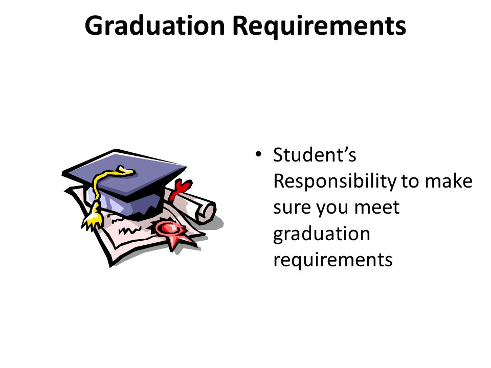 Graduation Requirements Student's Responsibility to make sure you meet graduation requirements