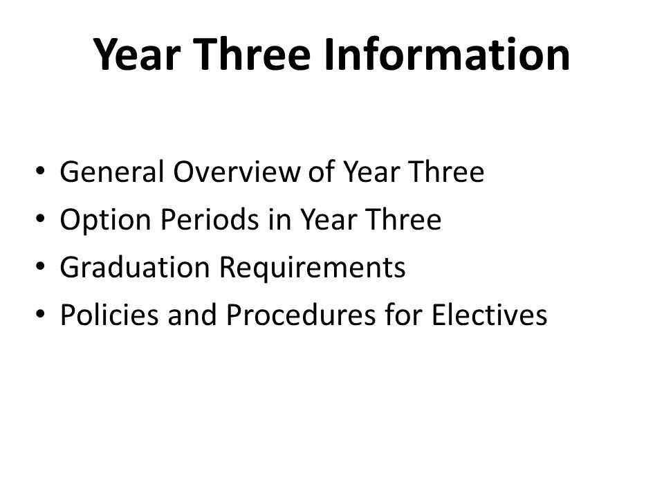 Year Three Information General Overview of Year Three Option Periods in Year Three Graduation Requirements Policies and Procedures for Electives