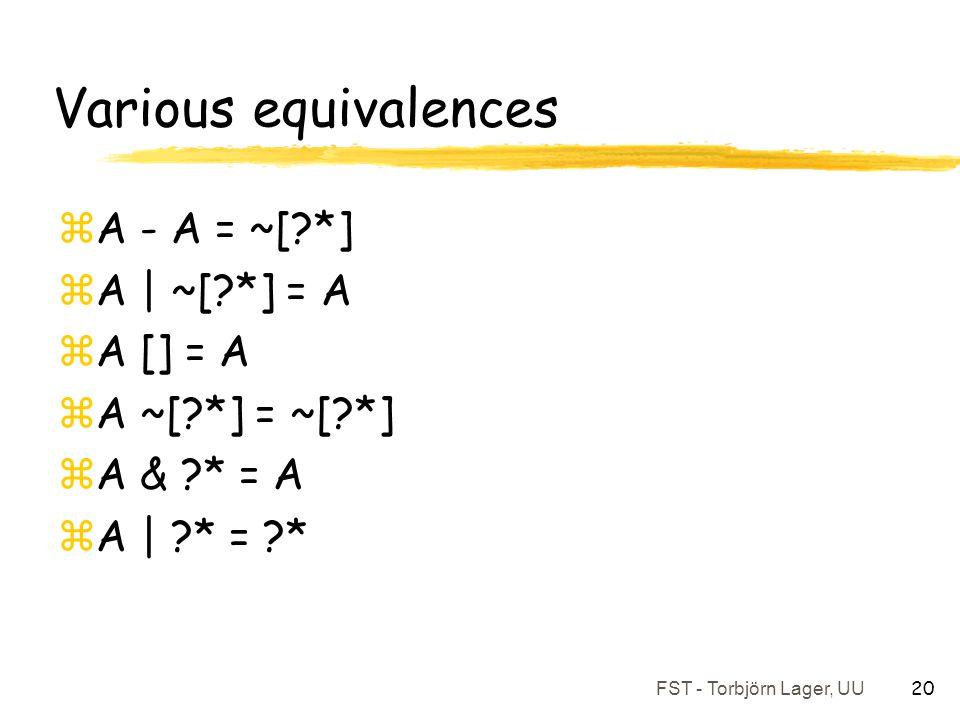FST - Torbjörn Lager, UU 20 Various equivalences zA - A = ~[?*] zA | ~[?*] = A zA [] = A zA ~[?*] = ~[?*] zA & ?* = A zA | ?* = ?*