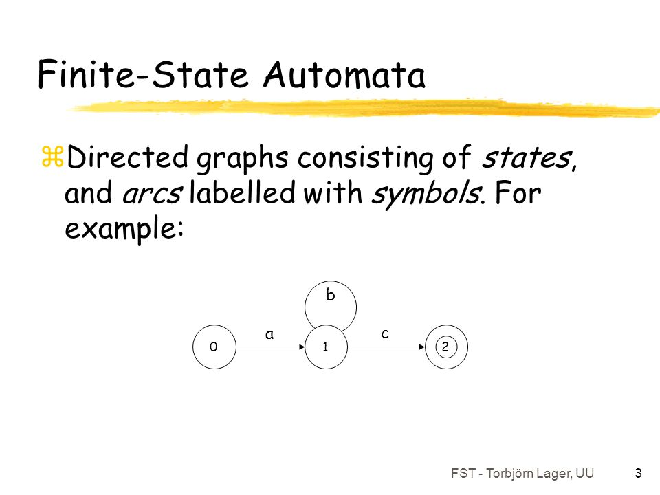 FST - Torbjörn Lager, UU 3 Finite-State Automata zDirected graphs consisting of states, and arcs labelled with symbols. For example: 2 01 a c b
