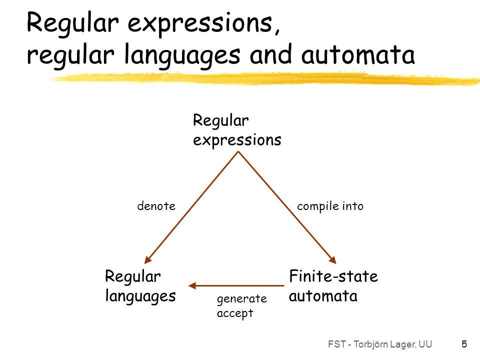 FST - Torbjörn Lager, UU 5 Regular expressions, regular languages and automata Regular expressions Finite-state automata Regular languages compile int