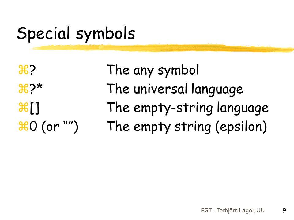 "FST - Torbjörn Lager, UU 9 Special symbols z?The any symbol z?*The universal language z[]The empty-string language z0 (or """")The empty string (epsilon"