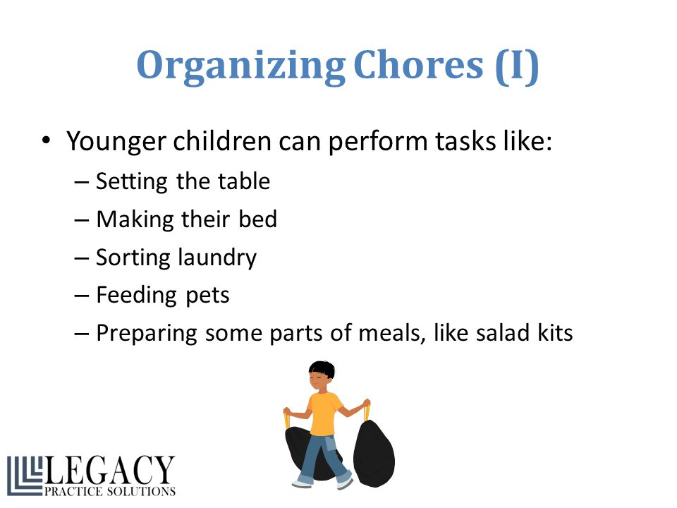 Organizing Chores (I) Younger children can perform tasks like: – Setting the table – Making their bed – Sorting laundry – Feeding pets – Preparing som