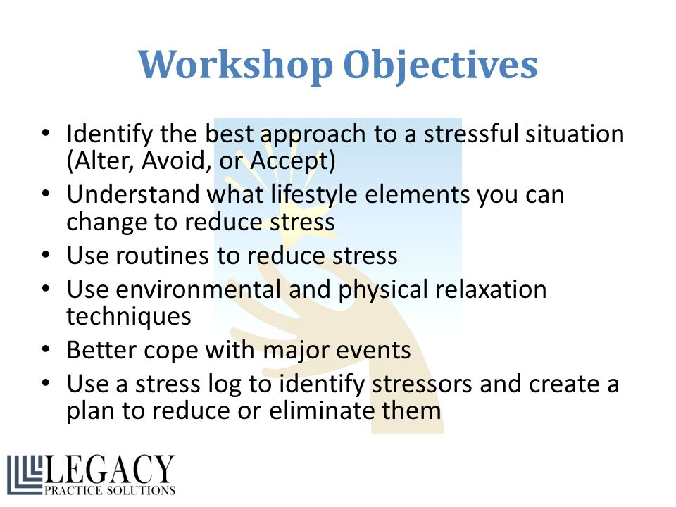 Workshop Objectives Identify the best approach to a stressful situation (Alter, Avoid, or Accept) Understand what lifestyle elements you can change to