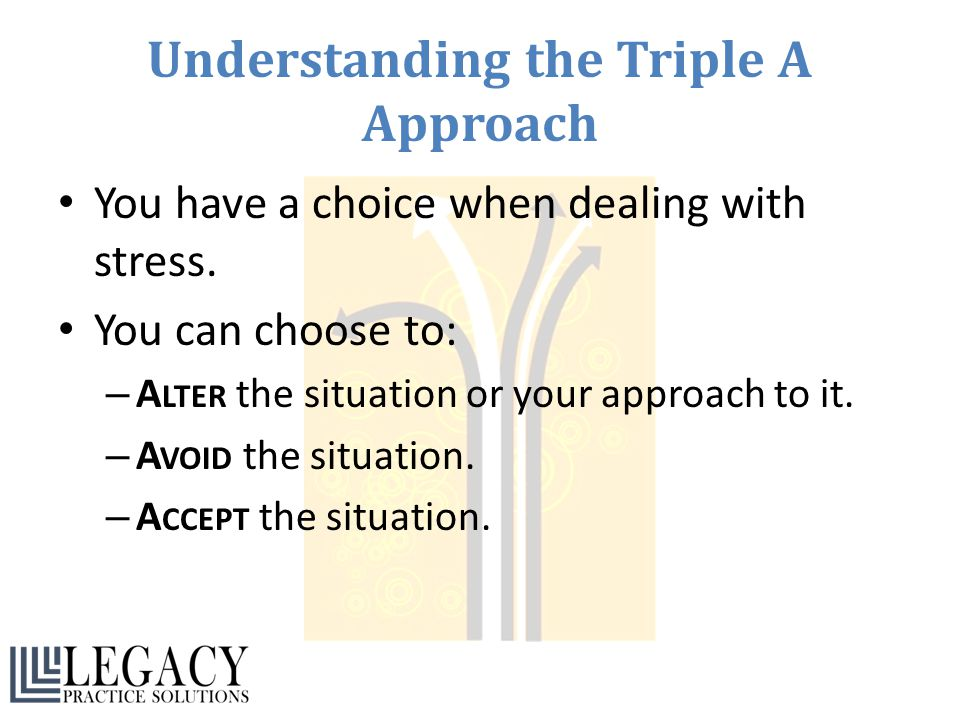 Understanding the Triple A Approach You have a choice when dealing with stress. You can choose to: – A LTER the situation or your approach to it. – A