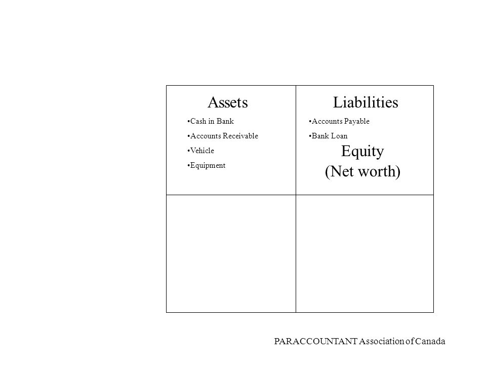 PARACCOUNTANT Association of Canada AssetsLiabilities Equity RevenueExpenses DEBITSCREDITS What are the account types?