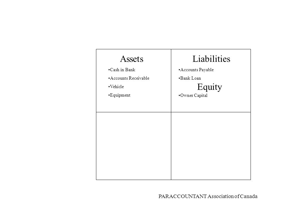 PARACCOUNTANT Association of Canada AssetsLiabilities Equity RevenueExpenses DEBITSCREDITS Cash in Bank Accounts Receivable Vehicle Equipment Name four Assets.