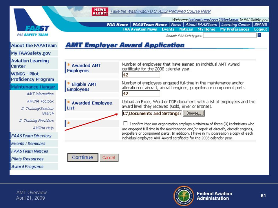 Federal Aviation Administration 61 AMT Overview April 21, 2009