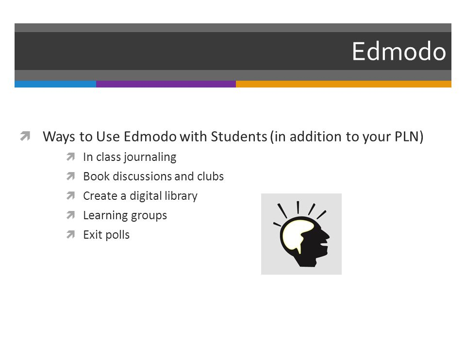 Edmodo  Ways to Use Edmodo with Students (in addition to your PLN)  In class journaling  Book discussions and clubs  Create a digital library  Learning groups  Exit polls