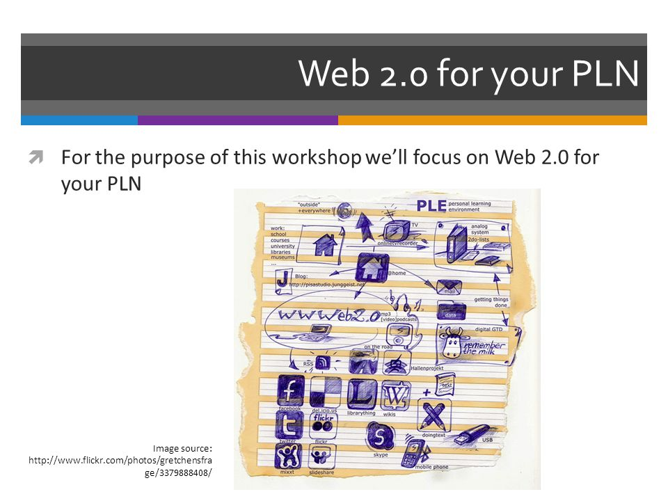 Web 2.0 for your PLN  For the purpose of this workshop we'll focus on Web 2.0 for your PLN Image source: http://www.flickr.com/photos/gretchensfra ge/3379888408/