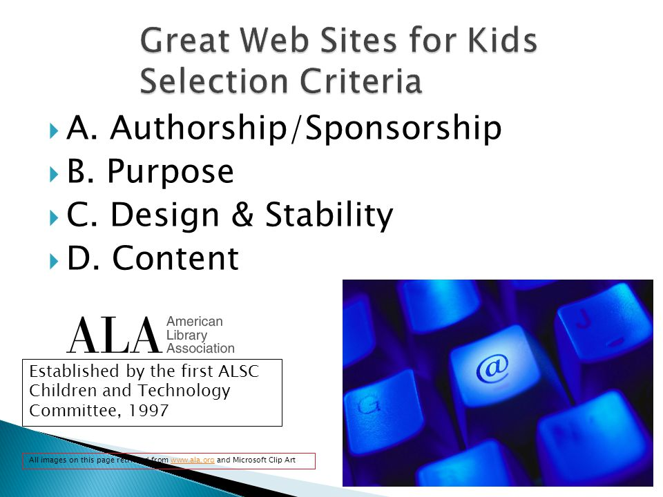  A. Authorship/Sponsorship  B. Purpose  C. Design & Stability  D.