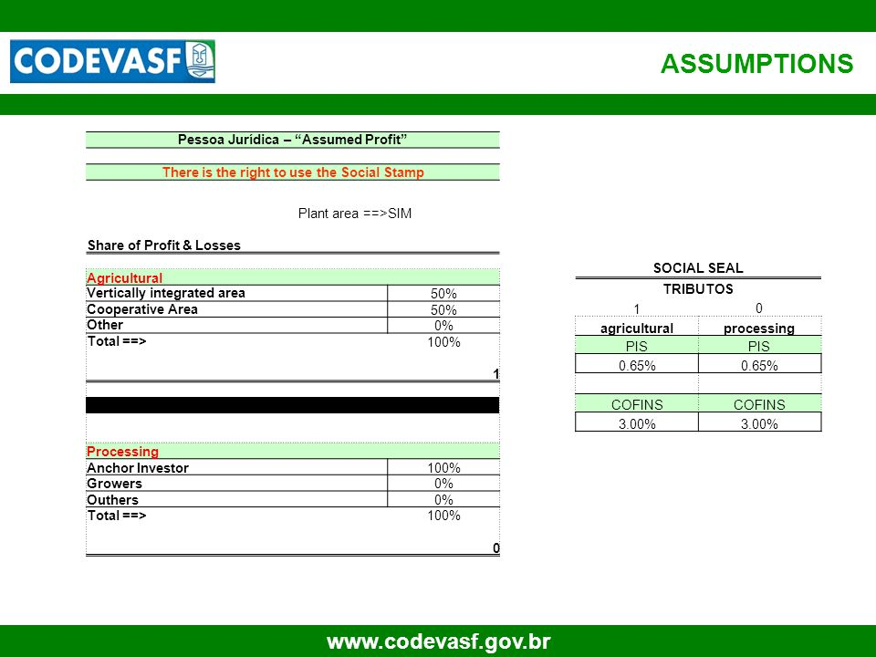 "19 www.codevasf.gov.br Pessoa Jurídica – ""Assumed Profit"" There is the right to use the Social Stamp Plant area ==>SIM Share of Profit & Losses Agricu"