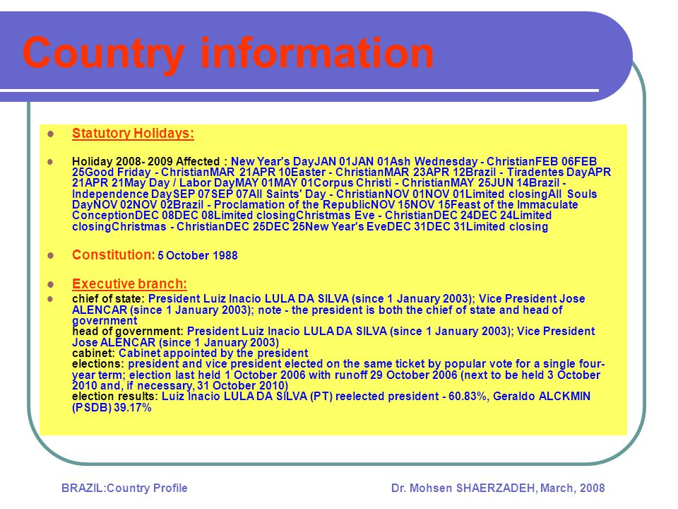 Dr. Mohsen SHAERZADEH, March, 2008BRAZIL:Country Profile Export, Import