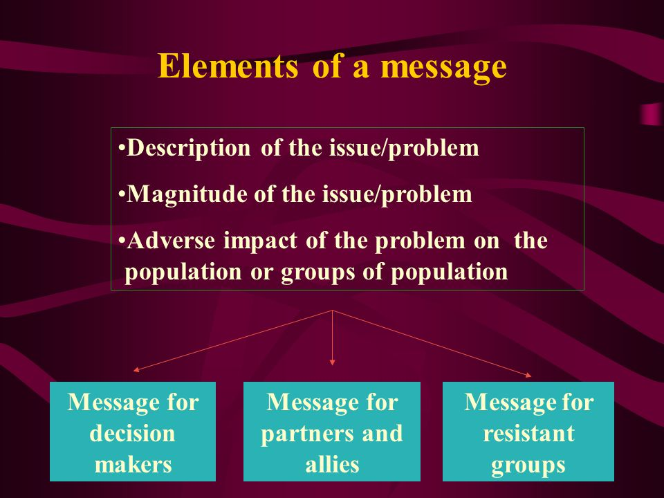 Key components of Advocacy message Key points to be addressed: Description of the issue/problem Magnitude of the issue/problem Adverse impact of the p
