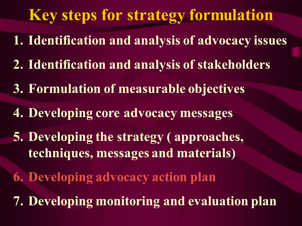 Advocacy strategy development matrix Issue Stakeholder (sub-group) Core messages Advocacy techniques Advocacy materials M&E indicators