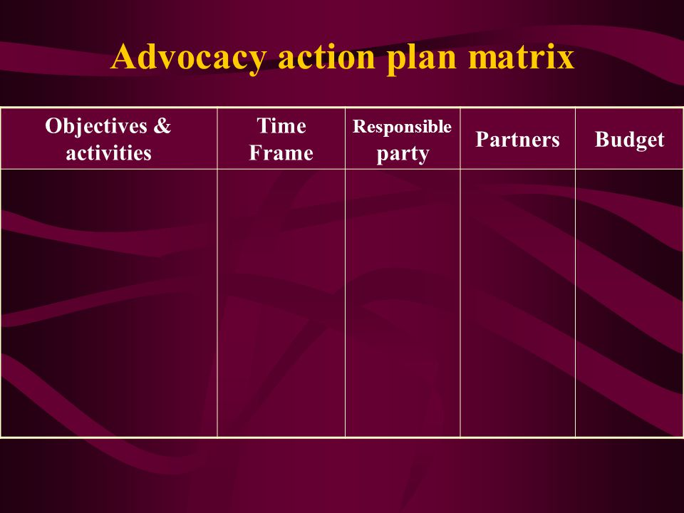 Mechanisms for Implementation of Advocacy A mechanism for co-ordination Coalitions and networking Institutions to deliver technical products Effective