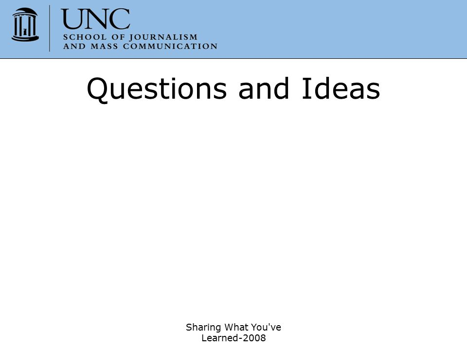 Sharing What You've Learned-2008 25 Questions and Ideas