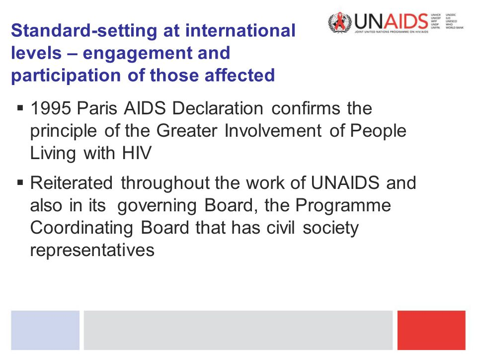  1995 Paris AIDS Declaration confirms the principle of the Greater Involvement of People Living with HIV  Reiterated throughout the work of UNAIDS a