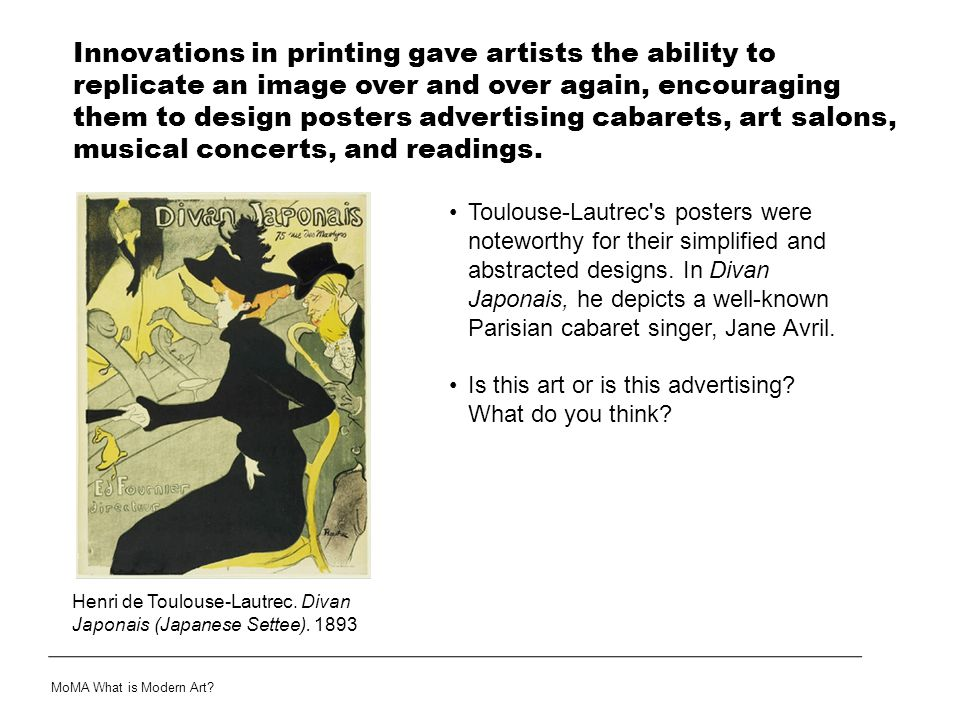 Questions Can you rename all of the ways in which modern artists expressed a new modern sentiment through their works of art.