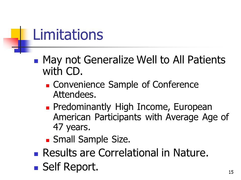 15 Limitations May not Generalize Well to All Patients with CD.
