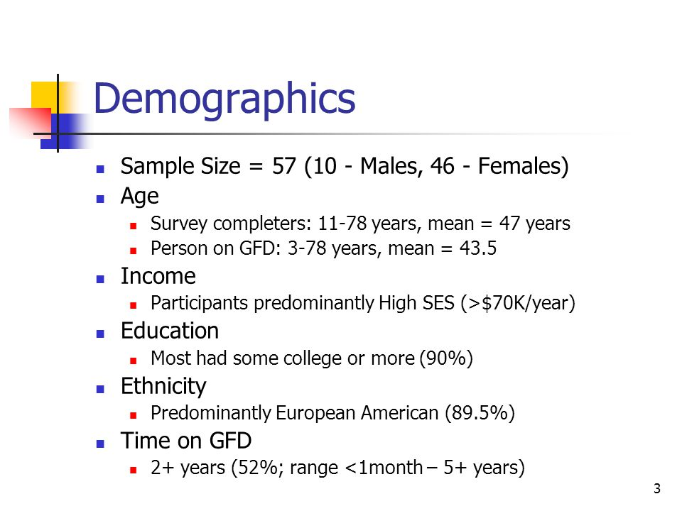 3 Demographics Sample Size = 57 (10 - Males, 46 - Females) Age Survey completers: 11-78 years, mean = 47 years Person on GFD: 3-78 years, mean = 43.5 Income Participants predominantly High SES (>$70K/year) Education Most had some college or more (90%) Ethnicity Predominantly European American (89.5%) Time on GFD 2+ years (52%; range <1month – 5+ years)