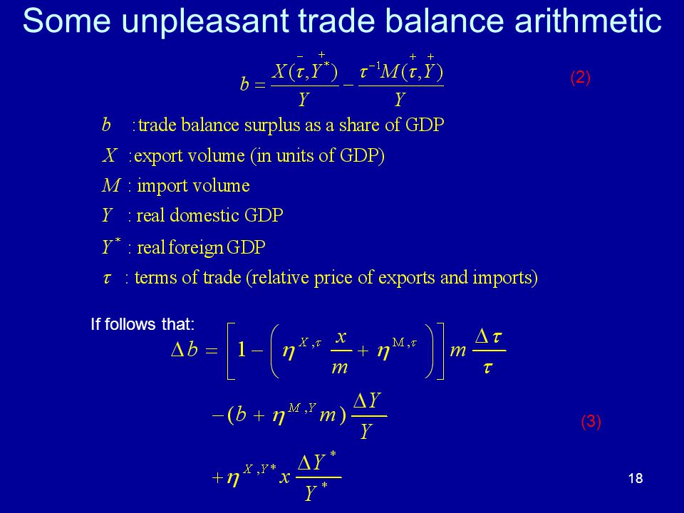 18 Some unpleasant trade balance arithmetic If follows that: (3) (2)